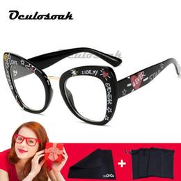 $enCountryForm.capitalKeyWord Australia - Black Printed Letters Sexy Fashion Eyewear Cat Eye Designer Brand Luxury Big Eye Glasses Cat Eye Frames For Women Female Oculos