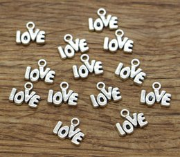 Word Charms Australia - Love Charms Word Mini Small Charm 100pcs lot Wholesale Bulk Wedding Valentines' Day Antique Silver Tone 10x12mm 2011