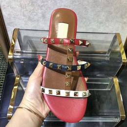 shoes stone sandals 2019 - Color Rivets Spiked Gladiator Flat Sandals Stones Studded Flip Sandal Big Size Designer Women's Cheap Shoes Summer