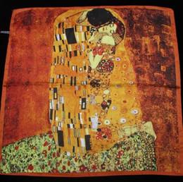 Oil paintings girls online shopping - 55cm cm New Arrival Women Klimt oil painting kiss Design silk scarf women shawls girl wraps NEW