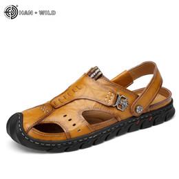 $enCountryForm.capitalKeyWord Australia - Summer Sandals Men Leather Classic Roman Sandals 2019 Slipper Outdoor Sneaker Beach Rubber Flip Flops Men Water Trekking