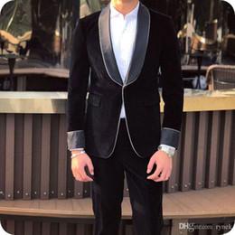 $enCountryForm.capitalKeyWord Australia - Black Velvet Groom Tuxedo Men Suits for Wedding Shawl Lapel Smoking Man Blazer Jacket Pants 2Piece Prom Party Terno Masculino Costume Homme