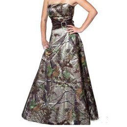 SleeveleSS camo ShirtS online shopping - Simple Camouflage Wedding Dresses A Line Strapless Long Wedding Party Gowns Custom Made Garden Country Camo Bridal Gowns