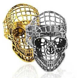 Punk Rings Australia - Vintage Style Male Skull Ring Punk Jewelry 316L Stainless Steel Gold Plated Hollow Retro Skeleton Finger Ring for Man