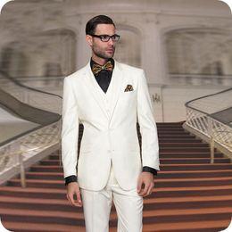 New latest desigN coat paNt online shopping - 3Piece Men Suits New Fashion Clothing Latest Coat Pant Designs Three Pieces Suit Formal Slim Fit Suits Ivory Wedding Suit for Men Blazer