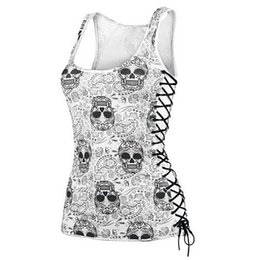 Women New Top Design Australia - New Skull Head Design Tops Sleeveless White T Shirts Fitness Women Vest Casual Camisole drop shipping