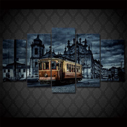 Bus Painting Australia - Alte City Bus ,5 PiecesHome Decor HD Printed Modern Art Painting on Canvas (Unframed Framed)