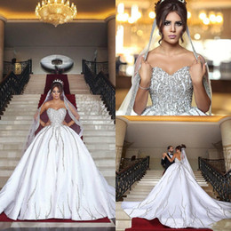 nigerian bridal train cap UK - 2019 Luxury Nigerian Dubai Arabic Ball Gown Bling Beading Sequins Wedding Dresses Plus Size Sweetheart Backless Sweep Train Bridal gowns