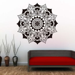 $enCountryForm.capitalKeyWord Australia - 1 Pcs Vinyl Mandalas Wall Decals Indian Pattern Yoga Flowers Wall Stickers Self Adhesive Art Mural For Bedroom Home Decor