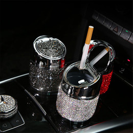 6.5cm Diamond Car Ashtray For Girl Women Crystal Rhinestone Ashtray Car Interior Decor Universal Cylinder Holder Accessories on Sale
