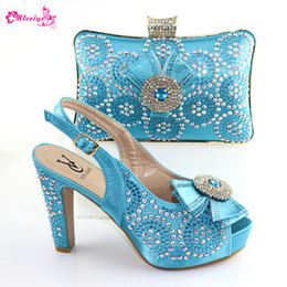 women bags navy blue Australia - Sky Blue Color Party Ladies Shoes And Matching Bag Set Fashion Woman Italian High Heel Shoes And Bag Set Size 38-42