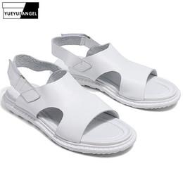 $enCountryForm.capitalKeyWord Australia - Genuine Leather Summer Mens Sandals Fashion Outdoor Flats Hook Loop Shoes Leisure Beach Gladiator Sandals Breathable Open Toe