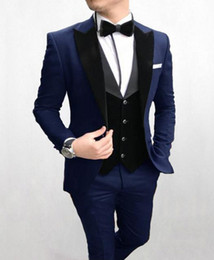 Brown Business vest online shopping - Fashion Navy Blue Groom Tuxedos Peak Lapel Groomsman Wedding Piece Suit Fashion Men Business Prom Jacket Blazer Jacket Pants Tie Vest