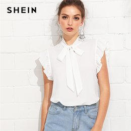 36fe3dae60a18c Shein White Elegant Workwear Flounce Shoulder Tied Neck Stand Collar Ruffle  Blouse Summer Women Weekend Casual Shirt Top C19041201