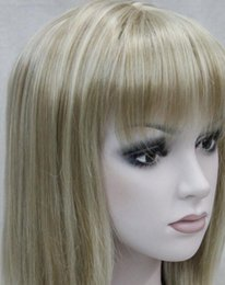 Discount medium length blonde wigs - WIG Fashion Light Blonde Mixed Medium short Women Ladies Daily Wig ETLD133 Hivision
