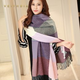 $enCountryForm.capitalKeyWord Australia - VEITHDIA 2019 Autumn Winter Female Wool Scarf Women Cashmere Scarves Wide Lattices Long Shawl Wrap Blanket Warm Tippet