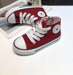 Brand High Board Shoes NZ - Kids Designer Shoes 2019 Brand Fashion Solid Color Canvas Shoes Casual Classic Logo Board Trend High Shoes Teens Boys Girls