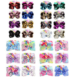 China Unicorn Horse Sequins JOJO SIWA baby girl Children 8 inch LARGE Rainbow Signature HAIR BOW with card Hair Accessories fashion hair clips cheap bow comb clip suppliers
