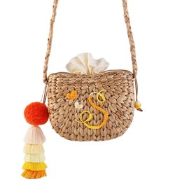 Discount woven balls - New Women Straw Handbag Vacation Handmade Beach Woven Bag Hair Ball Tassel Semi-Circular Tote Bag Seaside Tourism Holida