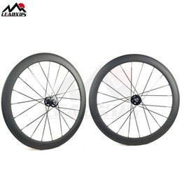 Bicycling Gear Australia - LEADXUS Full Carbon Fiber 50MM Clincher Tubular Roue Velo Fixie Bicycle Wheel Fixed Gear 700C Carbon Track Bike Wheels