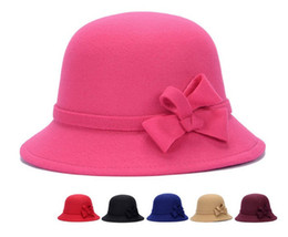 Trilby Hats Women Australia - New Vintage Girls Ladies Top Hats Fashion Fascinator Bowknot Floppy Stingy Brim Hats Cute Caps Blend Felt Trilby Bowler Hat Christmas Gift