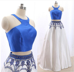 Discount modern skirts for girls - Royal Blue and White Skirt Prom Evening Dresses Two Pieces Halter Keyhole Back satin Crystal Beaded Formal Pageant Dress