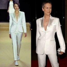 silver pant suits women NZ - New Mother of the Bride Suits Women Ladies White Silver Business Office Tuxedos Work Wear Trousers Suit(Jacket+Pants)