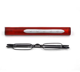 Ultralight glasses online shopping - Men and Women Pen Pocket Reading Glasses Alloy Portable Container Presbyopia Ultralight Mini Folding Reading Glass Send with Box