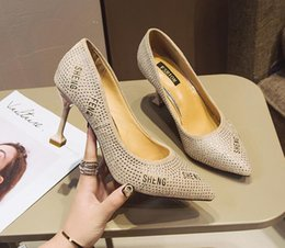 Stiletto Party Office Shoes Australia - Women Pointed Toes Office & Career Shoes Stiletto Dress Shoes Slip-On Shallow mouth Rhinestone Women Prom Party Wedding Christmas Work Shoes