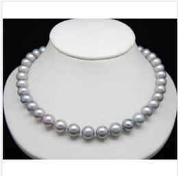 """Perfect Gold Alloys Australia - 2019 HUGE 18""""AAA ROUND 9-10MM PERFECT SOUTH SEA GENUINE GRAY PEARL NECKLACE 14K GOLD"""
