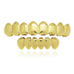 plain metal tins Australia - Plain Teeth Grillz Gold Rose Gold Silver Color 8 Top and Bottom Teeth Grills Set Metal Fake Tooth Jewelry Teeth Hip Hop Grills