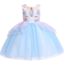 $enCountryForm.capitalKeyWord Australia - Europe Baby Girls Dress Applique Cartoon Unicorn Children Gauze Skirt Baby Kids Party Dress Girl Lace Ball Gown Tutu Princess Dresses 4561