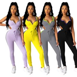 Wholesale jumpsuit jogging for sale – designer Women Sexy Outing Clothing Summer Sleeveless Jumpsuits Leggings Piece Set Outfits Bikini One Piece Capris Jogging Suit S XL Clothes
