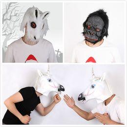 Latex rabbit mask online shopping - Halloween Creepy Animal Mask Latex Party Mask Unisex Scary Horse Gorilla Rabbit Head Mask Halloween Scary Masks