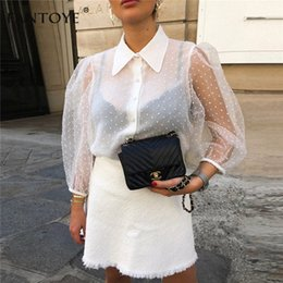 puff sleeves formal shirts Australia - Fantoye 2019 Summer Women Chiffon Blouse Shirt Sexy Transparent Mesh Beading Puff Sleeve Female office Shirts Lady Blusa Outfits V191019