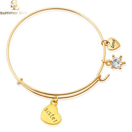 6f678d938 New Fashion Letter Mom Sister Grandma Charms Bangle Bracelet Adjustable  Expandable Wire Bangles for Women Gift Birthday Jewelry