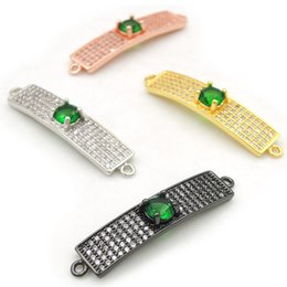 Connectors 4mm Australia - 33*7*4mm Micro Pave Clear&Green CZ Rectangle Arc Connectors Fit For Men And Women Making Bracelets Jewelry
