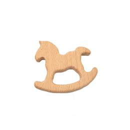 Cartoon Nature UK - 4pcs Wooden horse Teethers Nature Baby Teething Toy Organic Wood Teething Holder Nursing Baby Teether Soothers Baby Care
