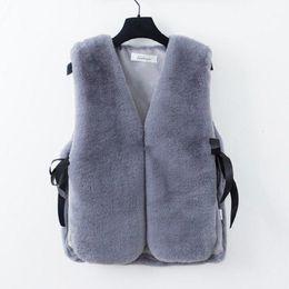 Plus Size Faux Fur Clothes Australia - New elegant faux Fur Vest casual o-neck sleeveless women coats and jackets autumn winter korean style plus size women clothing