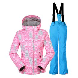 cee97d580f GSOU SNOW Double Single Board Children s Ski Suit Windproof Waterproof  Thickening Warm Ski Coat Suspender Trousers for girl