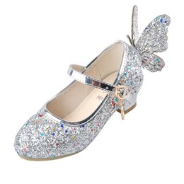 heeled shoes for kids UK - Ulknn Baby Princess Girls Shoes Sandals For Kids Glitter Butterfly Low Heel Children Shoes Girls Party Enfant Meisjes Schoenen Y19061906