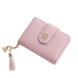 Red Credit Card Wallet NZ - Bank Id Business Credit Card Holder Tassel Leather Wallet Women Bags Cute Small Wallets Travel Document Holder Mini Purses Bag