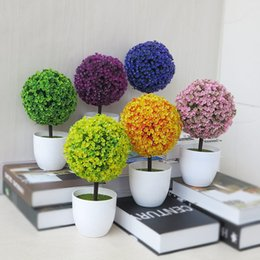 Wholesale Artificial Bonsai Plants Indoor Fake Guest Greeting Round Plastic Tree Green Table Home Office Decor