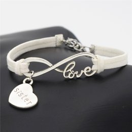 handmade gifts for mom NZ - Unique Handmade Silver Infinity LOVE Heart Sister Mom Daughter Wrap White Leather Bracelets Bangles for Women Men Lovely Gift Charms Jewelry