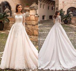 Long Robes Plus Size Australia - 2019 Elegant Designer Ivory Wedding Dresses Bateau Neck Lace Appliqued Long Sleeves Bridal Gowns Sweep Train Plus Size Vestidos Robe