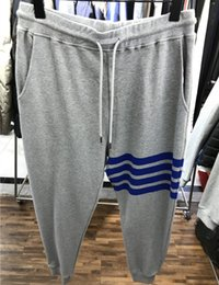 $enCountryForm.capitalKeyWord Australia - Tide brand 2019 spring and summer new products color matching ribbon four blue bar casual pants Wei pants sports gray trousers