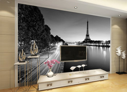 household phone Australia - Phone 3d Wallpaper Paris Tower Simple Black And White Landscape Living Room Bedroom Background Wall Decoration Mural Wallpaper