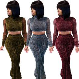see through yoga Australia - Sparkle Mesh Women Two Pieces Pants Suits Real Sample See Through Long Sleeves T Shirt and Long Pants Fashion Party Outfits Nightclub