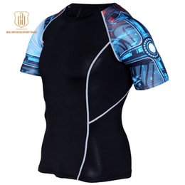Wear Compression Shorts Australia - Running Shirt Men Compression Tights Fitness Top MMA Rashgard Anime 3D T Shirt Wolf Skull Short Sleeve Men Gym Wear A3