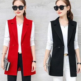 Wholesale elegant long coats for women resale online - High Quality Elegant Long for Women Summer Slim Long Vests Female Cardigan Vest Black Female Coat DC777